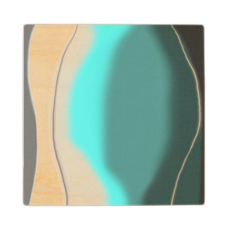 Turquoise Abstract Maple Wood Coaster