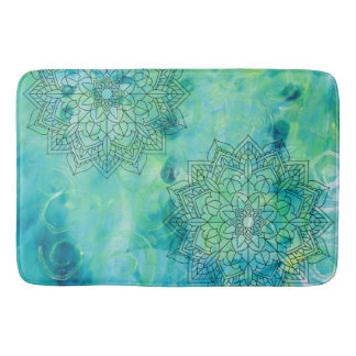 Turquoise Abstract Monoprint Bath Mat