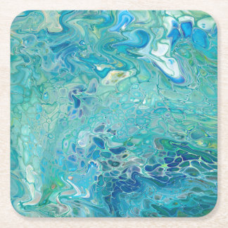 Turquoise abstract paint pour - waves square paper coaster