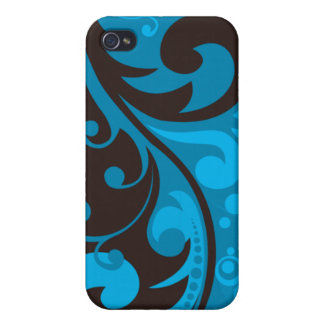 Turquoise Abstract Pern Case For iPhone 4