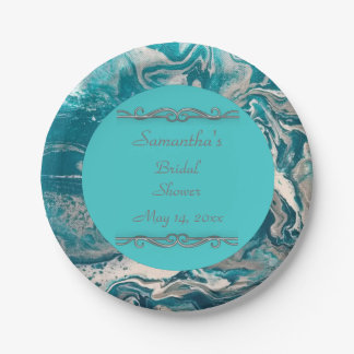 Turquoise Abstract Personalised Paper Plates