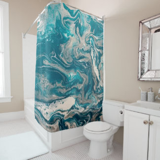 Turquoise Abstract Shower Curtain