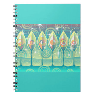 Turquoise Abstract Trees Spiral Notebook