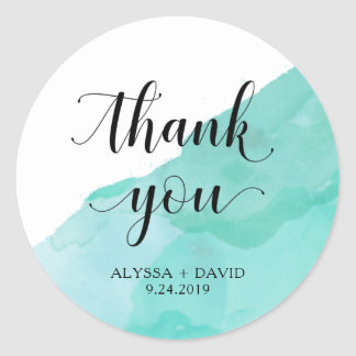 Turquoise Abstract Watercolor | Wedding Thank You Round Sticker