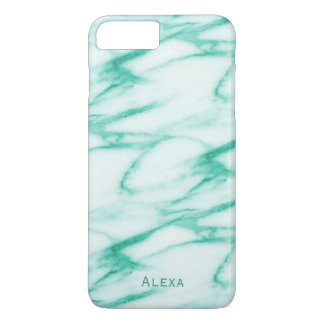 Turquoise Alabaster Marble Pattern with Name iPhone 8 Plus/7 Plus Case