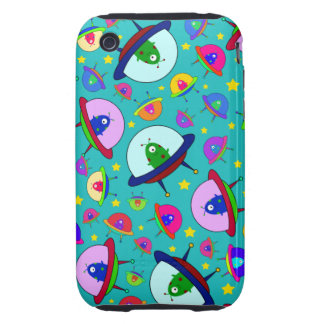 Turquoise alien spaceship pattern tough iPhone 3 cover