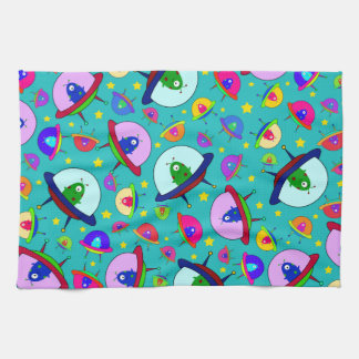 Turquoise alien spaceship pattern tea towel