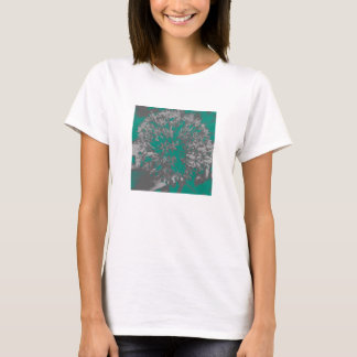 Turquoise Allium Flower Fitted White Tee Shirt