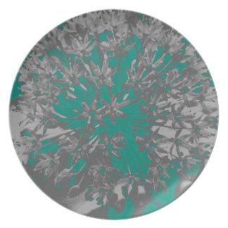 Turquoise Allium Flower Plate