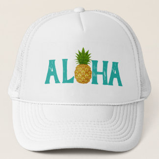 Turquoise Aloha with Gold Pineapple Trucker Hat