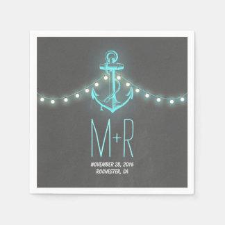 turquoise anchor nautical chalkboard wedding paper napkin