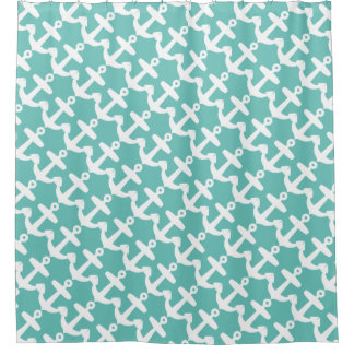 Turquoise anchor pattern shower curtain