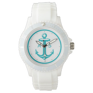 Turquoise Anchor with Initials | Nautical Gifts Wrist Watch