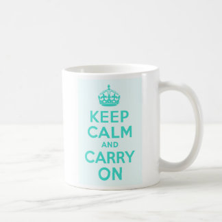 Turquoise and Azure Keep Calm and Carry On Coffee Mug