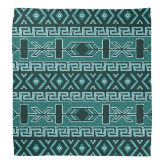 Turquoise And Black Aztec Pattern Bandanna