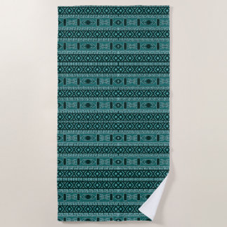 Turquoise And Black Aztec Pattern Beach Towel