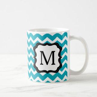 Turquoise and Black Chevron Monogram Coffee Mug