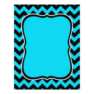Turquoise and black chevron pattern 21.5 cm x 28 cm flyer