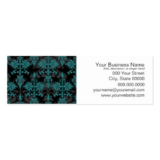 Turquoise and Black Damask Business Card