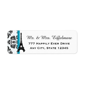 Turquoise and Black Damask Eiffel Tower Return Address Label