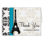 TURQUOISE AND BLACK DAMASK EIFFEL TOWER THANK YOU CARD