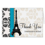 TURQUOISE AND BLACK DAMASK EIFFEL TOWER THANK YOU NOTE CARD