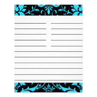Turquoise and Black Damask Matching Recipe Paper 21.5 Cm X 28 Cm Flyer