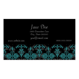 Turquoise and Black Damask Pack Of Standard Business Cards