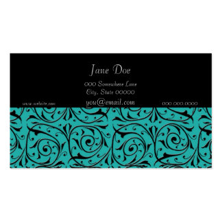 Turquoise and Black Elegant Business Card