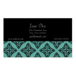 Turquoise and Black Elegant Damask Business Card Templates