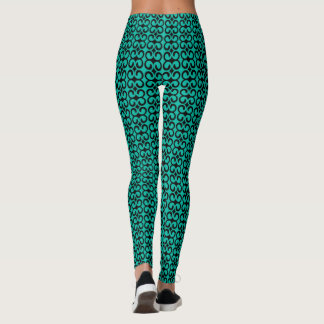 Turquoise and Black Elegant Pattern Leggings