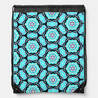 Turquoise and Black Flower - Backpack by KCS