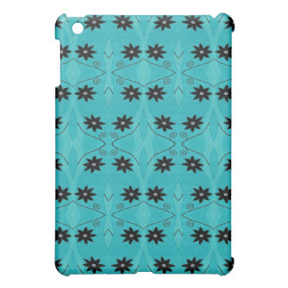 turquoise and black flower pattern cover for the iPad mini