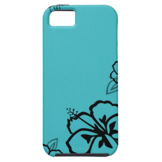 Turquoise and Black Hibiscus Print iPhone 5 Cases
