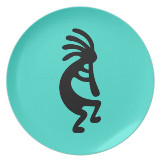 Turquoise and Black Kokopelli Plate