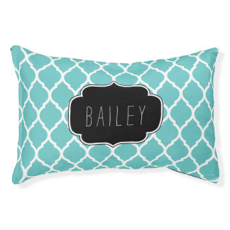 Turquoise and Black Moroccan Quatrefoil Monogram Pet Bed