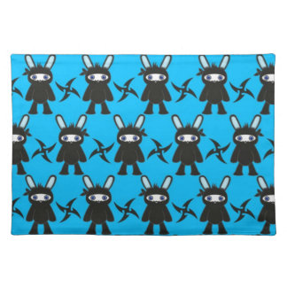 Turquoise and Black Ninja Bunny Pattern Placemat