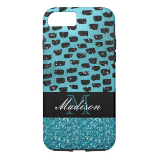 Turquoise and Black Pattern Trendy Modern Monogram iPhone 8/7 Case