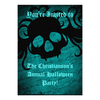 Turquoise and black skull Halloween party Personalized Invitation
