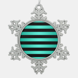 Turquoise and Black Stripes Snowflake Pewter Christmas Ornament