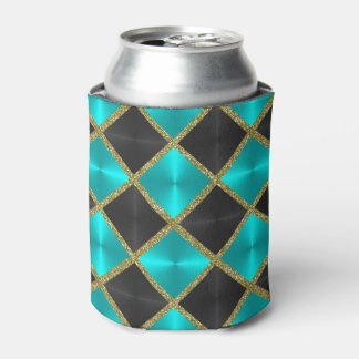 Turquoise and Black with Gold Squares