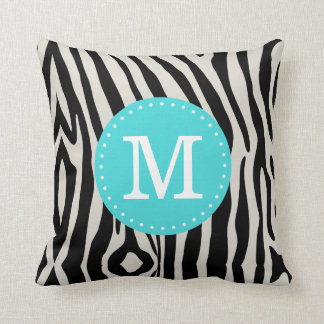 Turquoise and Black Zebra Stripe Custom Monogram Cushion