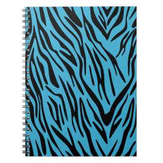 Turquoise and Black Zebra Stripe Spiral Notebook