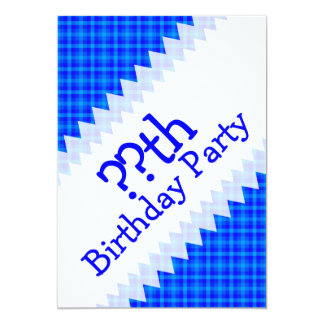 Turquoise and Blue Retro Chequered Birthday 13 Cm X 18 Cm Invitation Card