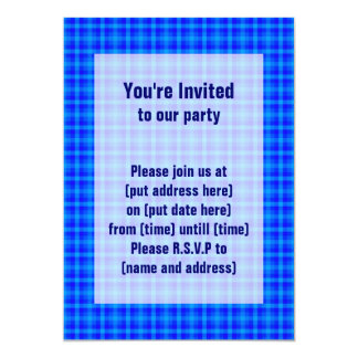 Turquoise and Blue Retro Chequered Pattern 13 Cm X 18 Cm Invitation Card
