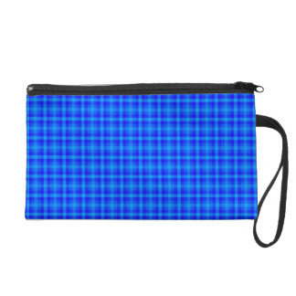 Turquoise and Blue Retro Chequered Pattern Wristlet Clutch