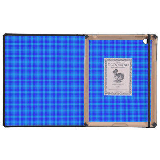 Turquoise and Blue Retro Chequered Pattern Covers For iPad