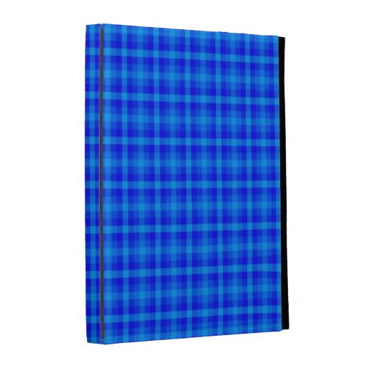 Turquoise and Blue Retro Chequered Pattern iPad Folio Cover