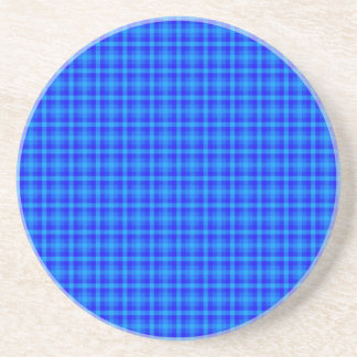 Turquoise and Blue Retro Chequered Pattern Coaster