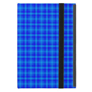 Turquoise and Blue Retro Chequered Pattern Cover For iPad Mini